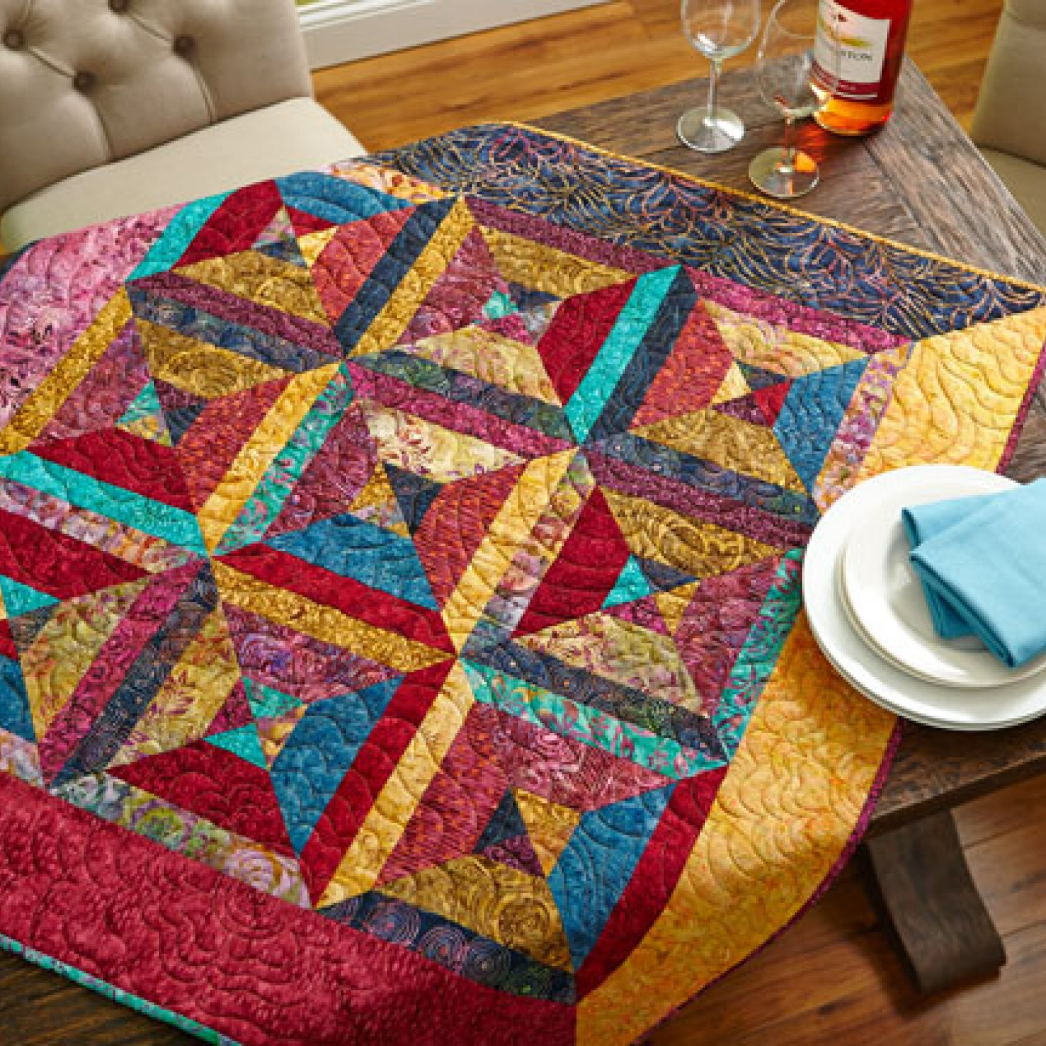 Batik Triangles Table Topper Allpeoplequilt Com