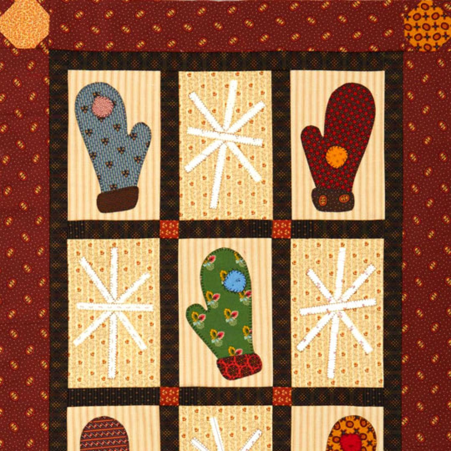 Mittens and Snowflakes Wall Quilt | AllPeopleQuilt.com