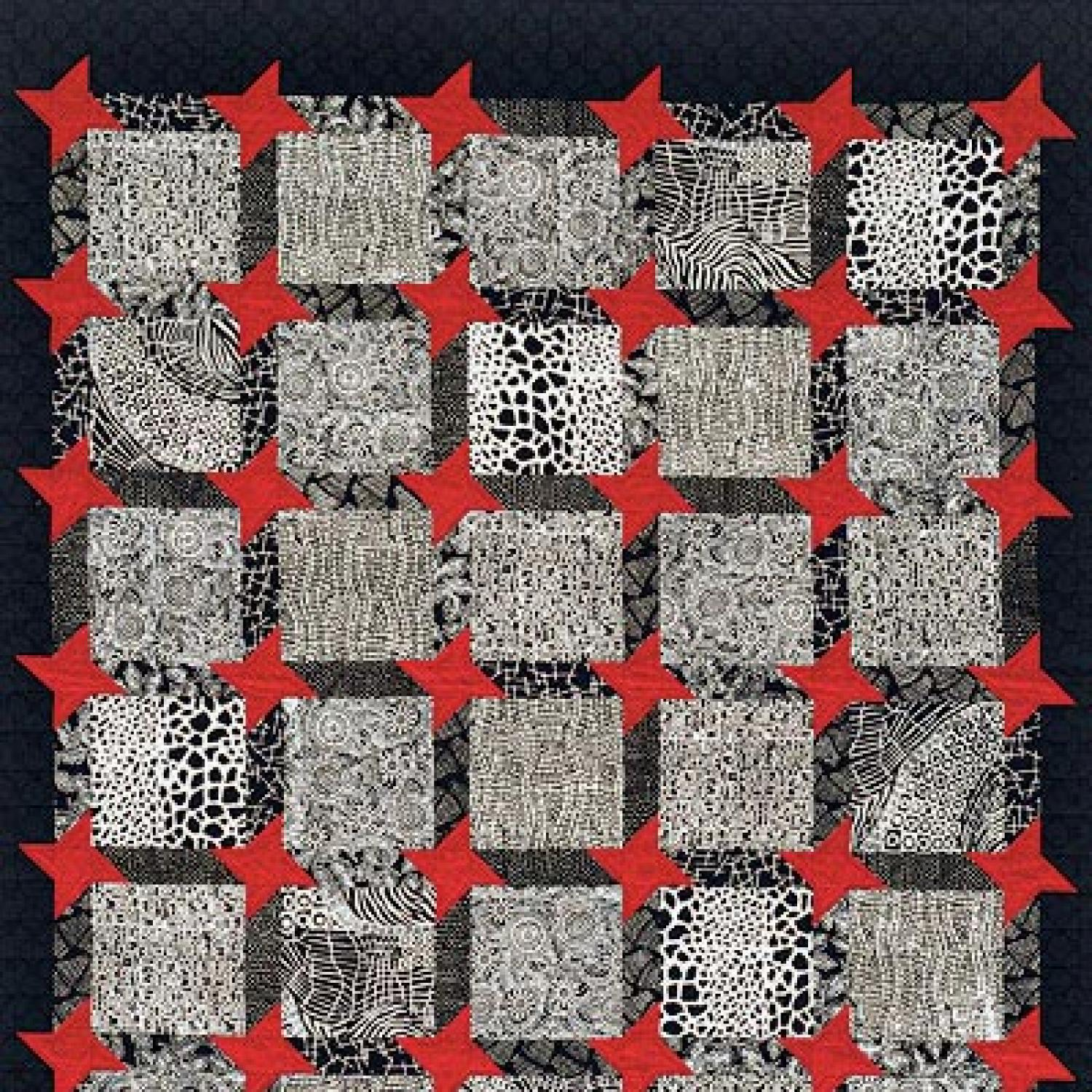 black red quilt and quilting machine white custom stars n piece