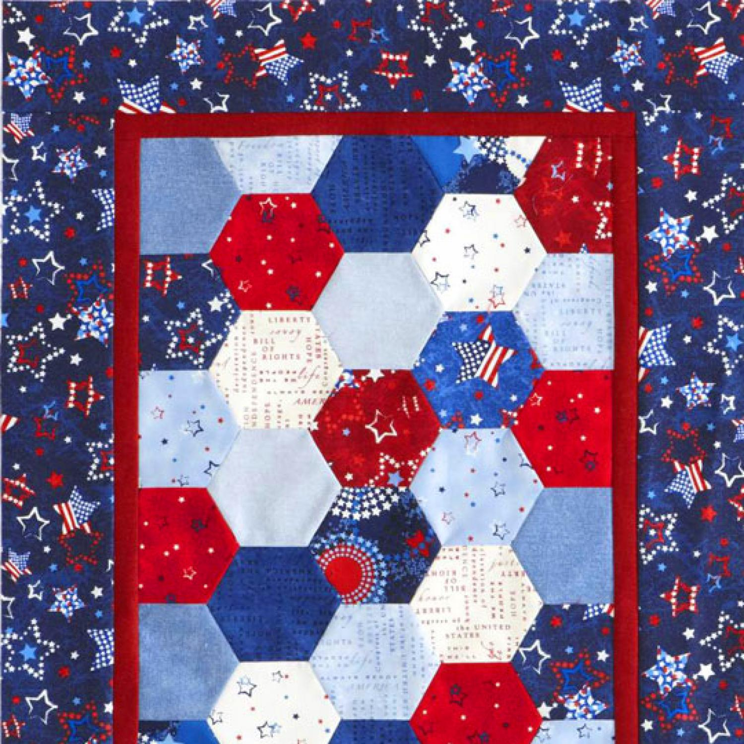 Groovy Patriotic Hexagons Table Runner Allpeoplequilt Com Home Interior And Landscaping Eliaenasavecom
