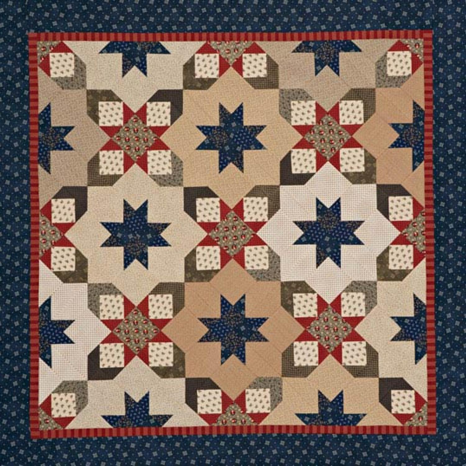 Starry square in a square quilt for Red door design quilts