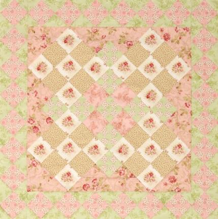 floral double ninepatch quilt