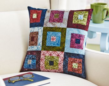 Batik Log Cabin Pillow Allpeoplequilt Com