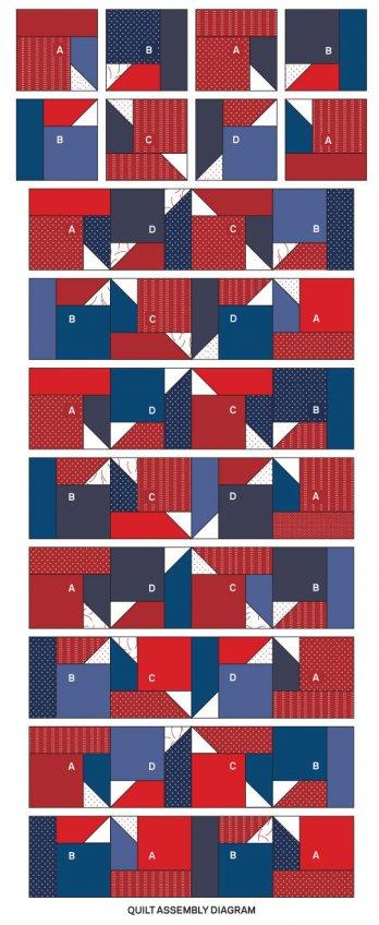 Patriotic Pinwheels Table Runner Allpeoplequilt Com