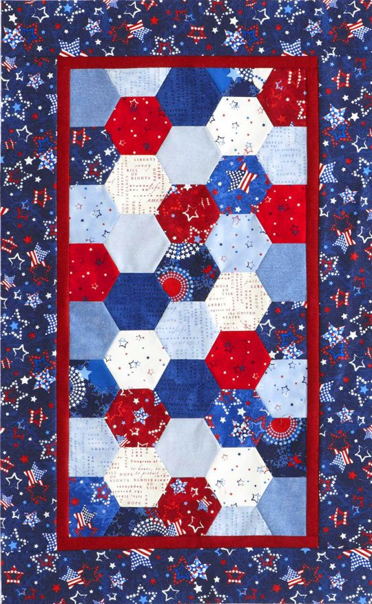 Brilliant Patriotic Hexagons Table Runner Allpeoplequilt Com Home Interior And Landscaping Eliaenasavecom