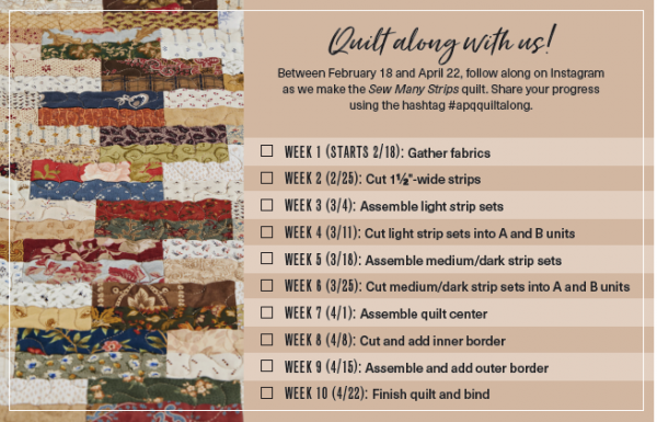Sew Many Strips Quilt Along Schedule Allpeoplequilt Com